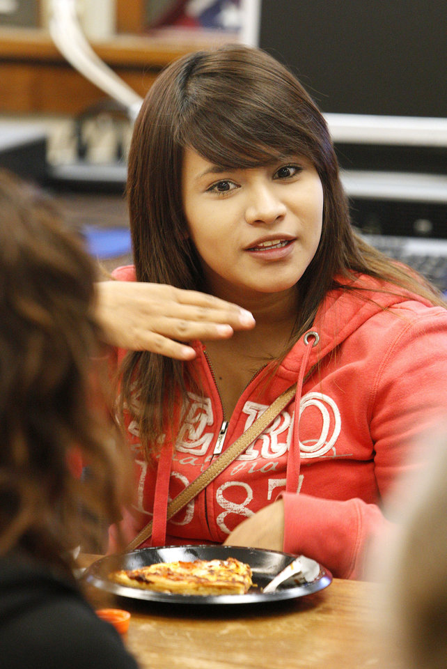Photo - Korina Lopez, 17, participates in a discussion during a Family Builders parenting class at Emerson High School in Oklahoma City Wednesday, Feb. 27, 2013.  Photo by Paul B. Southerland, The Oklahoman