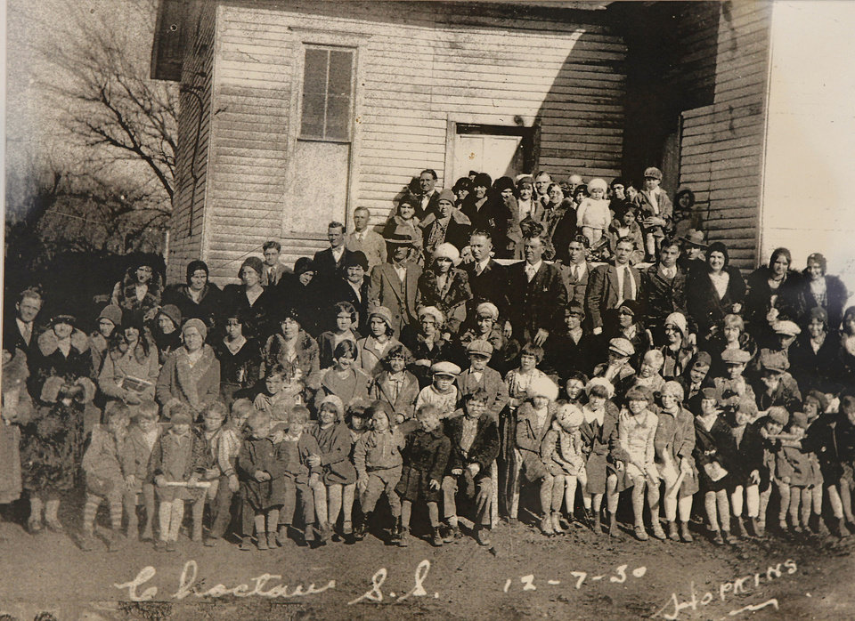 This 1930 photograph shows Sunday school classes posing for a picture in front of the Methodist Episcopal Church, now the Choctaw United Methodist Church in Choctaw.