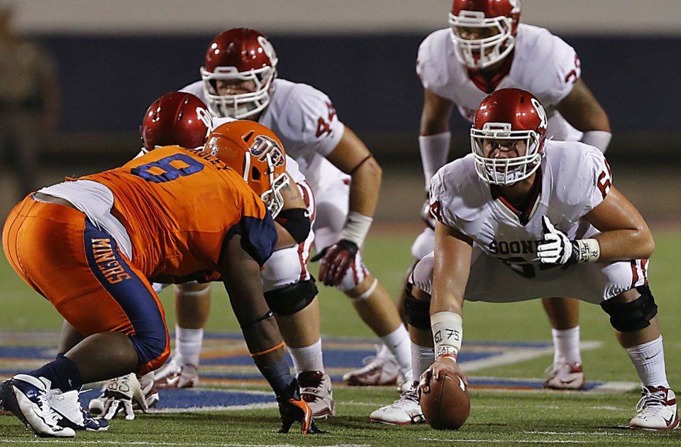Oklahoma Sooners offensive linesman Gabe Ikard (64) lines up as center in front of UTEP\'s Marcus Bagley (8) during the college football game between the University of Oklahoma Sooners (OU) and the University of Texas El Paso Miners (UTEP) at Sun Bowl Stadium on Saturday, Sept. 1, 2012, in El Paso, Texas. Photo by Chris Landsberger, The Oklahoman