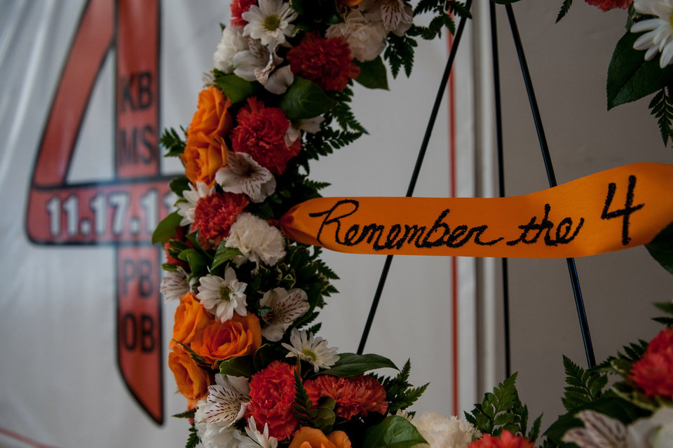 Photo - A wreath is set in front of the