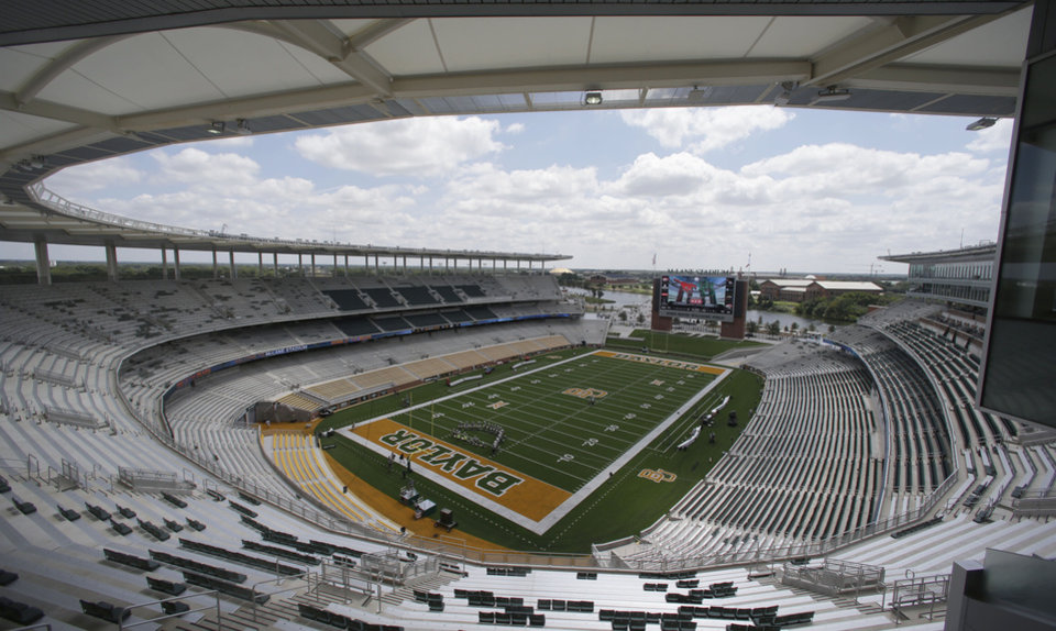 Photo - The new McLane Stadium sits ready before the NCAA college football game between SMU and Baylor, Sunday, Aug. 31, 2014, in Waco, Texas. (AP Photo/LM Otero)