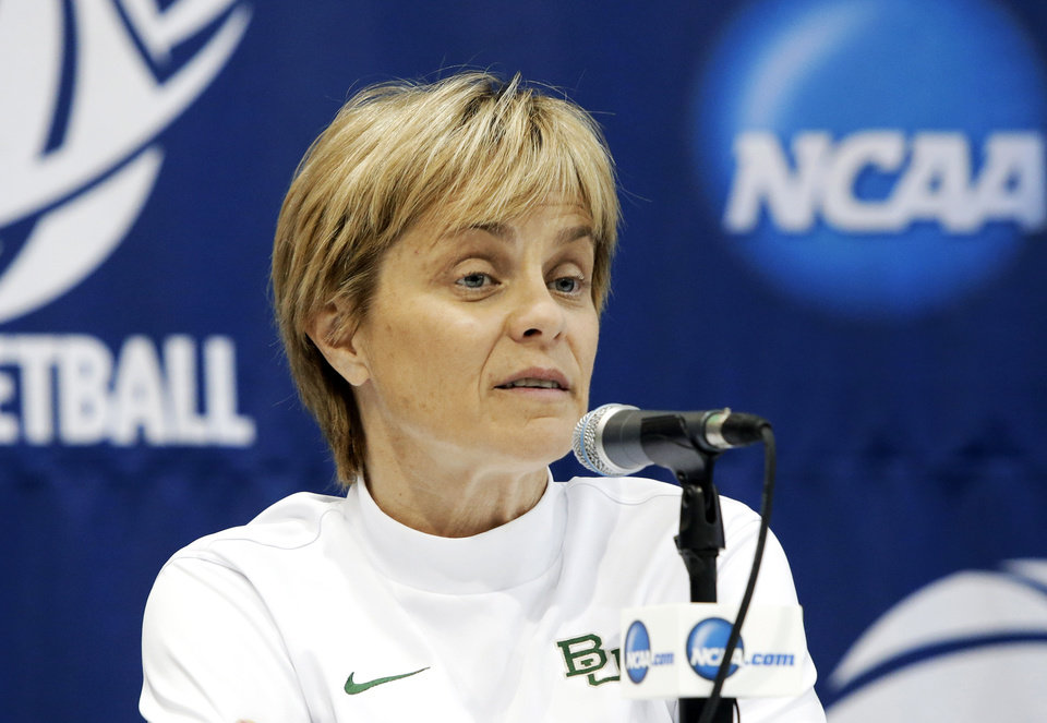 Photo - Baylor coach Kim Mulkey responds to a question during an NCAA college basketball tournament news conference, Sunday, March 23, 2014, in Waco, Texas. Baylor is scheduled to play California on Monday. (AP Photo/Tony Gutierrez)