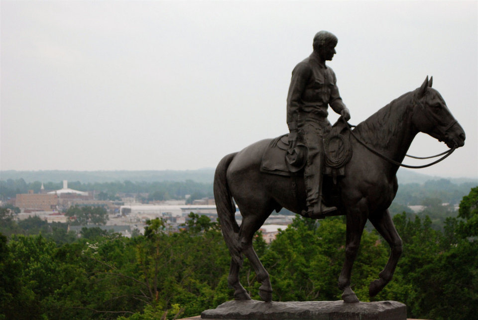 Photo - The statue of Will Rogers on horseback overlooks the museum honoring Claremore's famous cowboy entertainer. PHOTO PROVIDED.