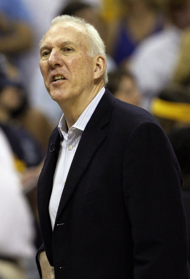San Antonio Spurs head coach Gregg Popovich paces the sidelines during the first half of Game 3 in their NBA basketball Western Conference finals playoff series against Memphis Grizzlies, Saturday, May 25, 2013, in Memphis, TN.(AP Photo/Danny Johnston)