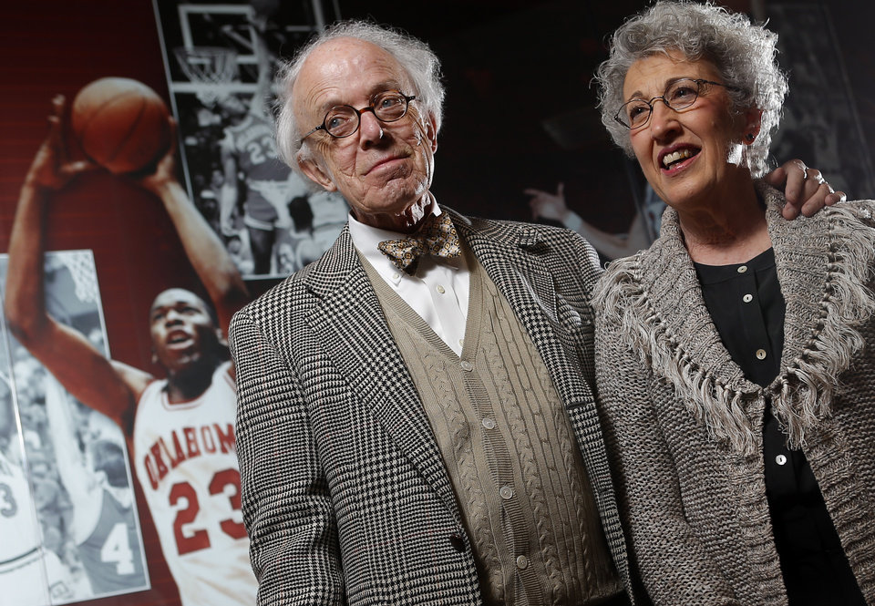 Photo - CHARLES HOLLINGSWORTH: Charles and Cheryl Hollingsworth talk about Wayman Tisdale inside the Lloyd Noble Center in Norman, Okla., Thursday, March 15, 2013. Photo by Bryan Terry, The Oklahoman