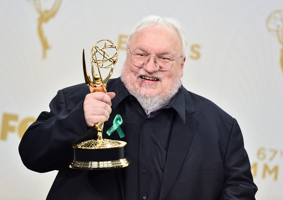 Photo -  George R.R. Martin, winner of the award for outstanding drama series for