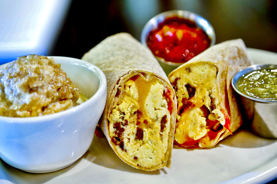 Photo - VZD'S BOX LUNCH: Spicy Tanaha breakfast wrap with steel cut oats.  Photo by Chris Landsberger, The Oklahoman  CHRIS LANDSBERGER - CHRIS LANDSBERGER