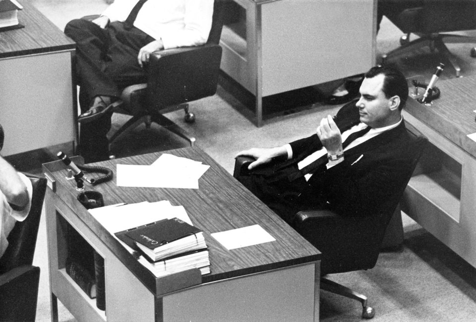 Photo - State Sen. Gene Stipe, D-McAlester (Senate District 25), ponders the state political landscape while at his desk in the Oklahoma Senate in July of 1963. Staff photo by Frank Garner taken 7/15/63.