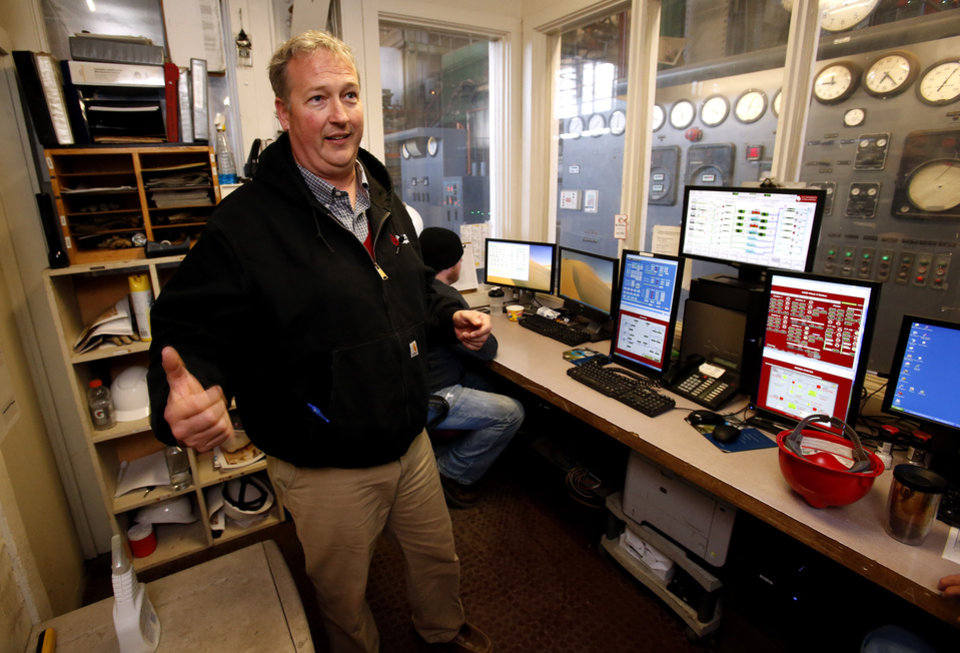 University of Oklahoma facilities manager Brian Ellis shows the old control room for the decades-old campus steam plant as he talks about energy saving enhancements to the Norman campus on Tuesday, Nov. 27, 2012 in Norman, Okla.  Photo by Steve Sisney