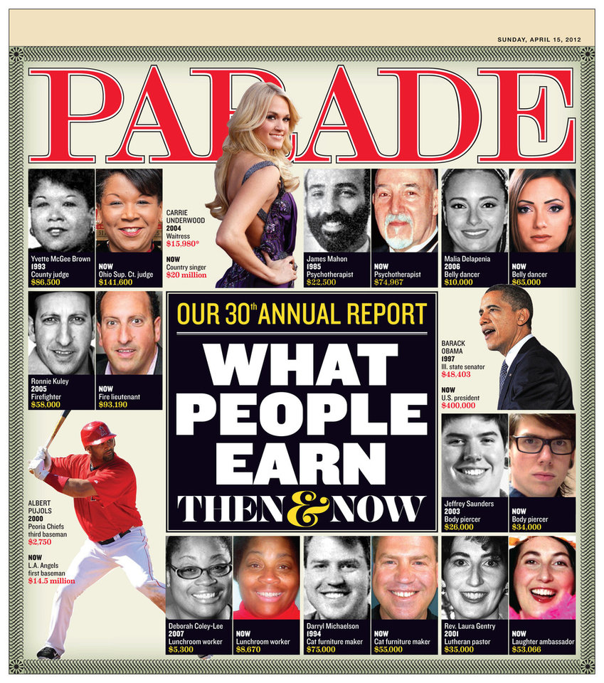 The cover of the April 15 issue of Parade. <strong></strong>