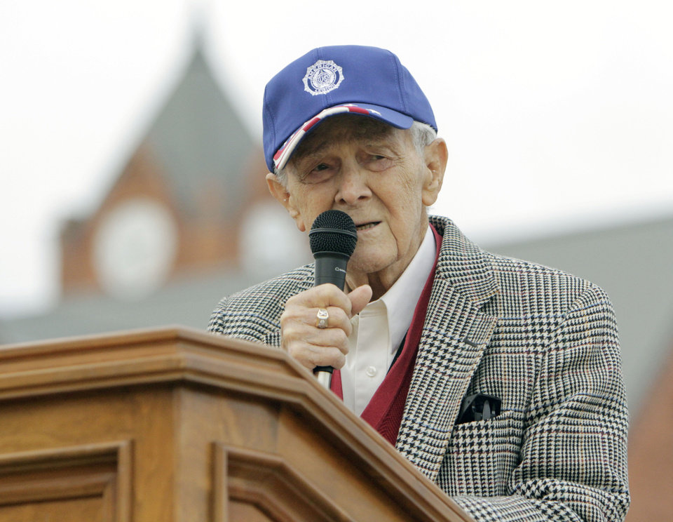 Retired Air Force SSgt. Brown Hudson speaks of some of his experiences in World War II, as the University of Central Oklahoma Veteran Support Alliance honors veterans with a ceremony on Veterans Day at UCO's Plunkett Park in Edmond, OK, Friday, Nov. 11, 2011. By Paul Hellstern, The Oklahoman