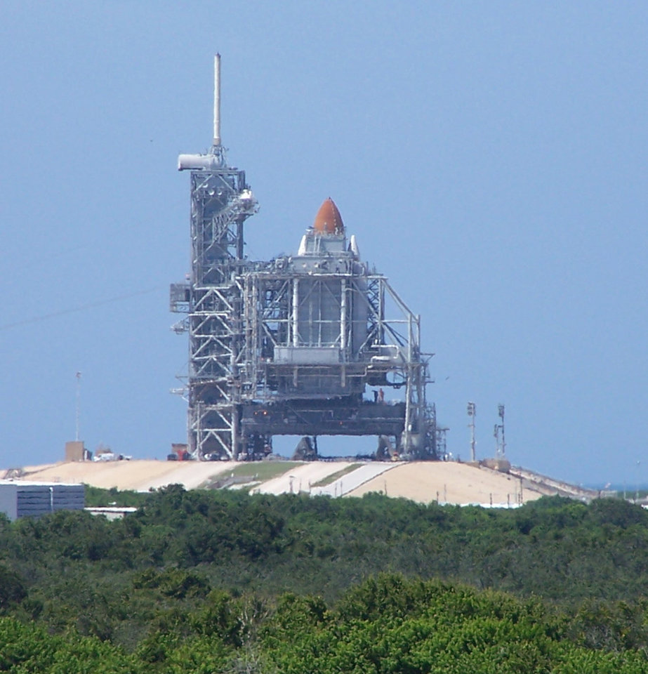 Space Shuttle Atlantis on the launch pad at Cape Canaveral August 7, 2006.<br/><b>Community Photo By:</b> Cindi Tennison<br/><b>Submitted By:</b> Cindi , Bethany