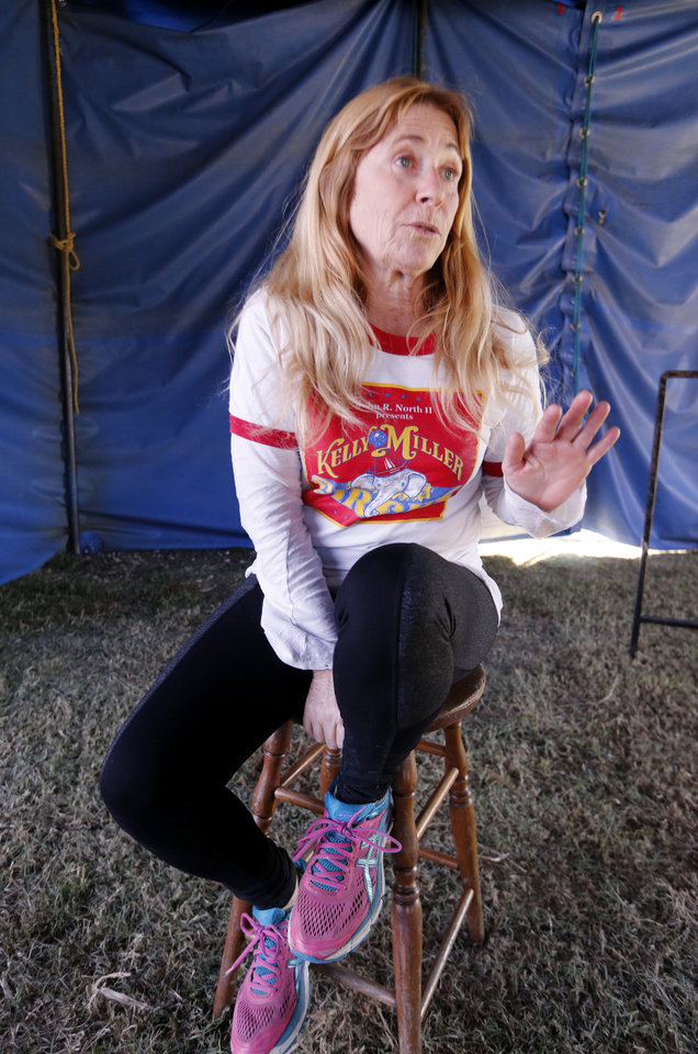 Photo -  Ringmaster Rebecca Ostroff talks about the circus. [PHOTO BY STEVE SISNEY, THE OKLAHOMAN]