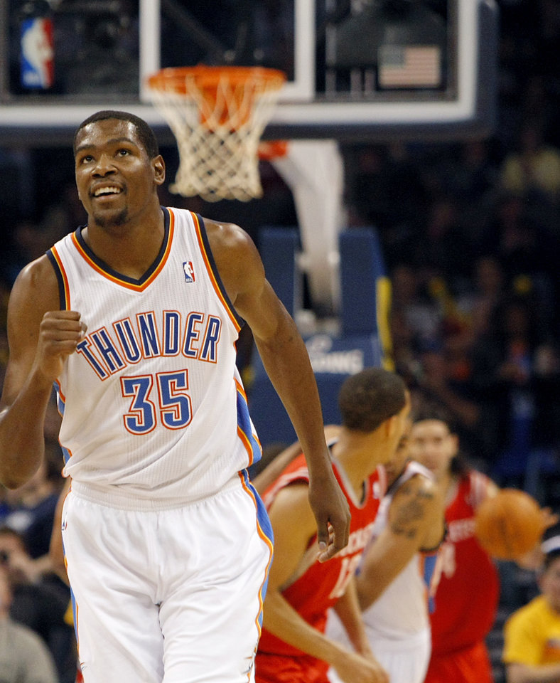 Oklahoma City's Kevin Durant celebrates after the Thunder scoer points against Houston during their NBA basketball game at the OKC Arena in downtown Oklahoma City on Wednesday, Nov. 17, 2010. Photo by John Clanton, The Oklahoman