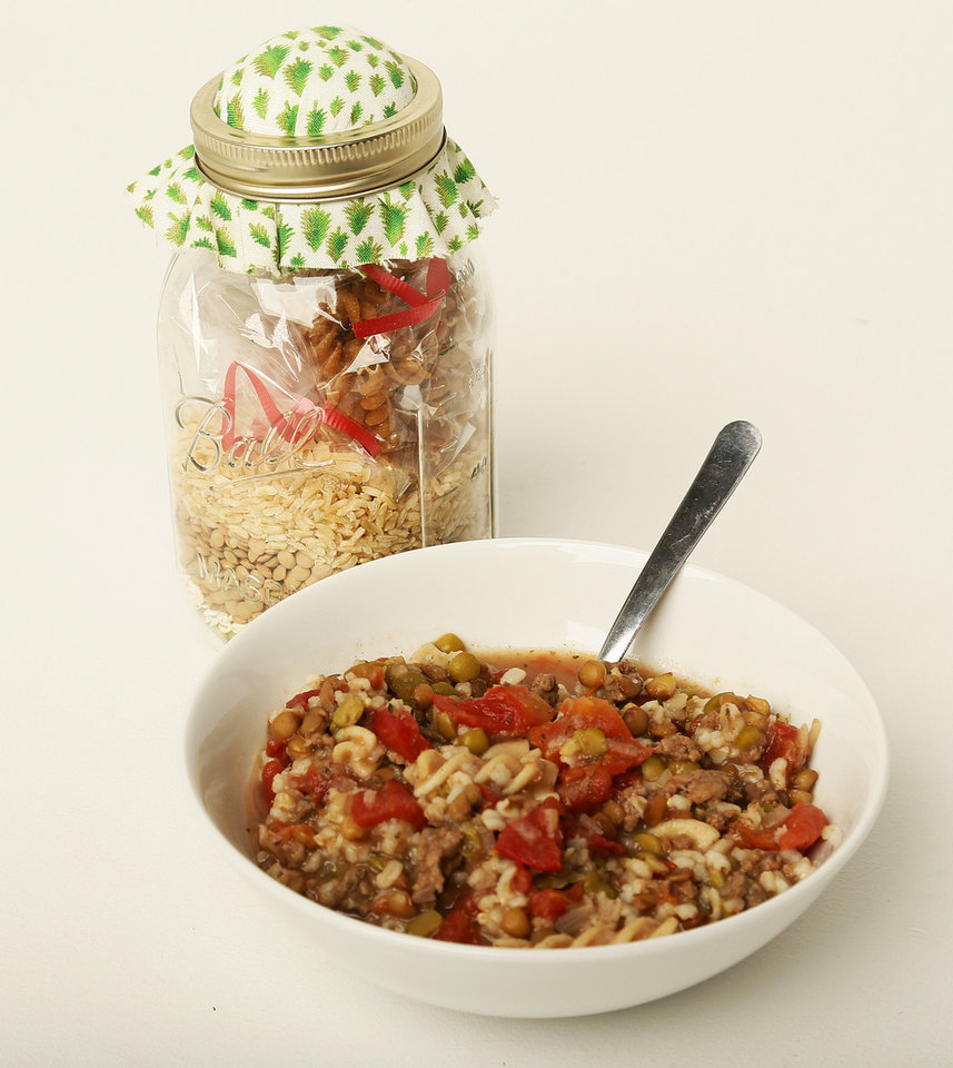 Friendship Soup in a jar and prepared in a bowl for Becky Varner's column in Oklahoma City, Monday, Nov. 26, 2012. Photo by Nate Billings , The Oklahoman