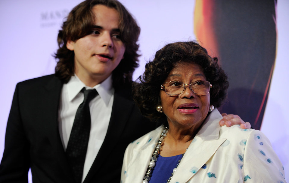 Photo - FILE - In this June 29, 2013 file photo, Prince Jackson, left, and Katherine Jackson arrive at the world premiere of