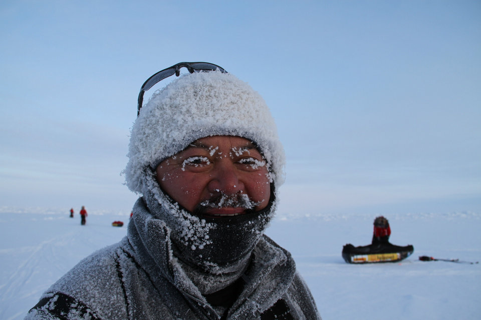 Photo - NORTH POLE HIKE: Perry Taaca sports a coating of frost during a recent trek to the North Pole.    PHOTOS COURTESY OF DOUG BEALL    ORG XMIT: 1005171554213399