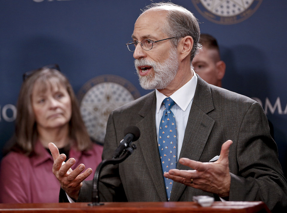 Former U.S. Deputy Assistant Secretary of Defense Frank Gaffney, at the state Capitol, on Friday, urged the governor to sign a bill that would prohibit foreign laws from being enforced in state courtrooms.  Photo by Chris Landsberger, The Oklahoman