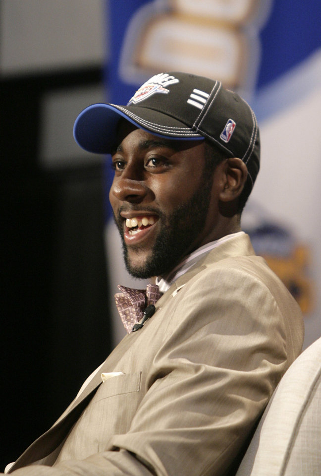 Photo - James Harden, of Arizona State University, who was picked third overall by the Oklahoma City Thunder, smiles during a news interview during the first round of the NBA basketball draft, Thursday, June 25, 2009  in New York.   (AP Photo/Seth Wenig) ORG XMIT: NYFF116