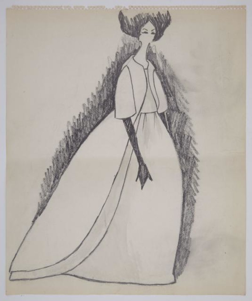 Photo - One lot in Oleg Cassini's estate auction includes 18 large Kennedy-era original fashion sketches of mostly evening gowns and dresses, including a pencil drawing likely of Jacqueline Kennedy's Inaugural Gala gown.