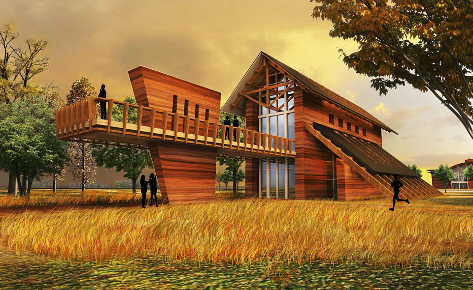 Oklahoma State University students Brandon Burlingame�s and Aaron Guthridge�s design for a rural eco-village includes a barn to use for events.  Image provided