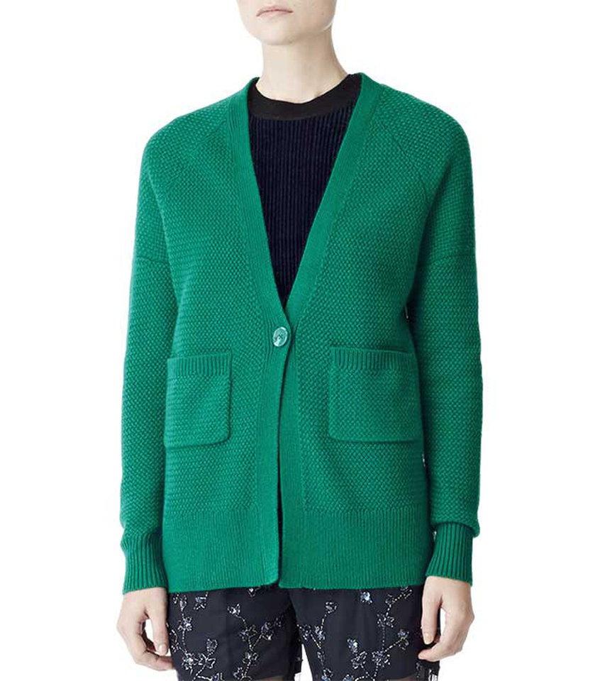 Photo - After color authority Pantone named emerald the official color of 2013, the green tone began popping up on runways and in stores everywhere. Here, Reiss Callister boyfriend cardigan, $105, Reiss.com. (Courtesy Reiss.com via Los Angeles Times/MCT)