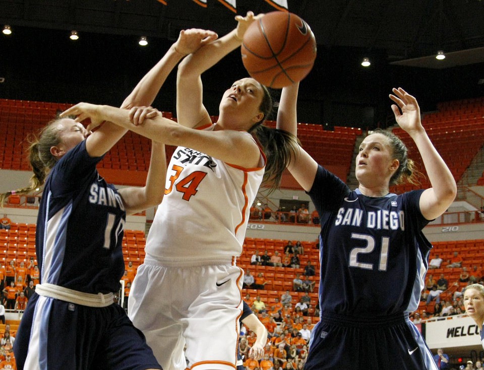 Oklahoma State's Vicky McIntyre (34) fights for the ball between San Diego's Amy Kame (10) and Klara Wischer (21) during the women's NIT semifinal college basketball game between Oklahoma State University (OSU) and San Diego at Gallagher-Iba Arena in Stillwater, Okla., Wednesday, March 28, 2012. Oklahoma State won 73-57. Photo by Bryan Terry, The Oklahoman