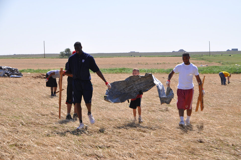 Photo - Ekpe Udoh returned home to Oklahoma to help with tornado relief efforts on Saturday, June 4. PHOTO PROVIDED