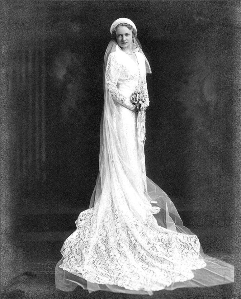 Photo - Because of World War II and the Depression, wedding dresses were simpler. Some brides often wore the nicest dress in their closet, but that wasn't the case for Carolyn Metcalfe. Her dress was adorned with lace from the top to the train. Carolee Wende, Metcalfe's daughter, said all her mother's wedding stories talk about how it hit 110 degrees in Omaha, Nebraska. Photo provided by Carolee Wende  Photo provided by Carolee Wende - Photo provided by Carolee Wende