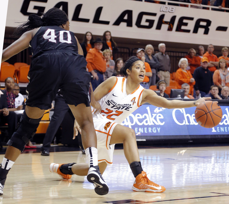 Oklahoma State 's Brittney Martin (22) passes the ball past Texas Southern 's Crystal Anyiam (40) during the women's college basketball game between Oklahoma State University and Texas Southern University on Saturday, Dec. 1, 2012, in Stillwater, Okla.   Photo by Chris Landsberger, The Oklahoman