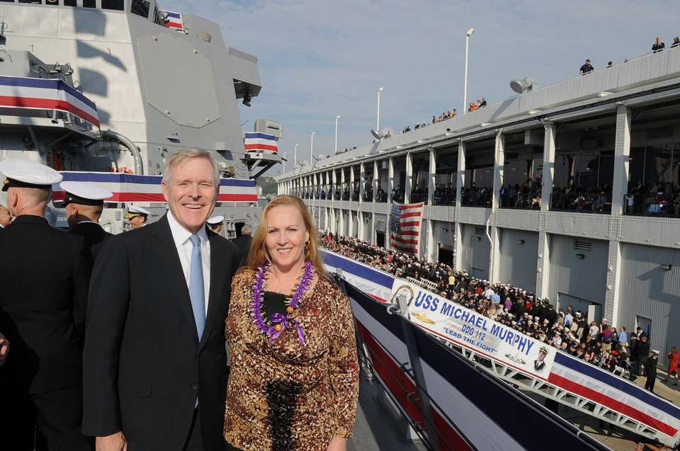 In this image provided by the U.S. Navy, Secretary of the Navy, the Honorable Ray Mabus, stands with the Ship\'s Sponsor, Maureen Murphy, during the commissioning ceremony for guided-missile destroyer USS Michael Murphy Saturday Oct. 6, 2012. Mutphy\'s son, Lt. Michael P. Murphy was posthumously awarded the Medal of Honor for his actions in combat as leader of a four-man SEAL reconnaissance team in Afghanistan. Murphy was the first person to be awarded the Medal of Honor for actions in Afghanistan and the first member of the U.S. Navy to receive the award since the Vietnam War. (AP Photo/US Navy, Chief Mass Communication Specialist Sam Shavers)