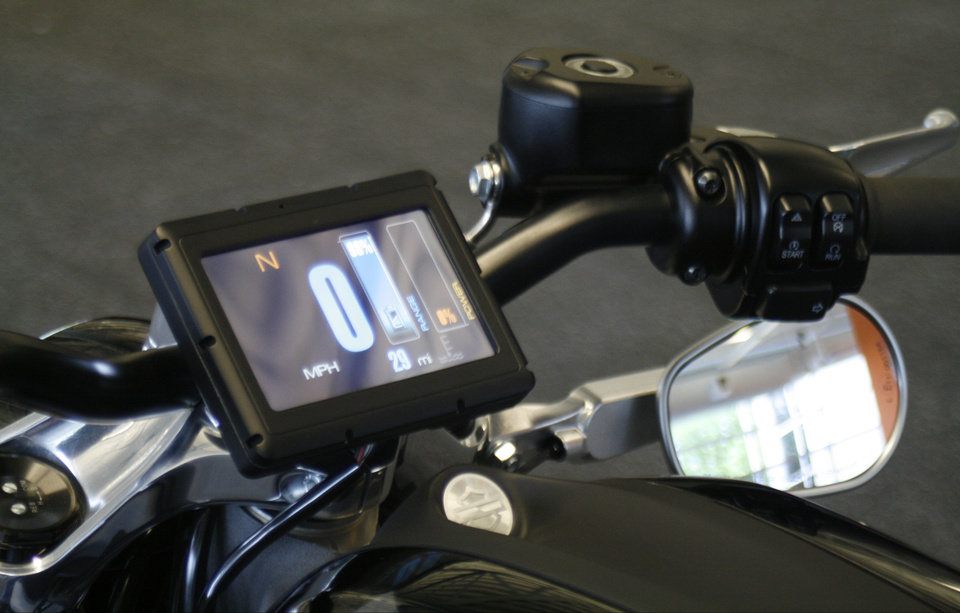 Photo - This Wednesday, June 18, 2014 photo shows the control screen on Harley-Davidson's new electric motorcycle, at the company's research facility in Wauwatosa, Wis. The company plans to unveil the LiveWire model Monday, June 23, at an invitation-only event in New York. (AP Photo/M.L. Johnson)