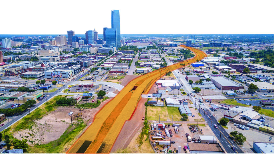 Photo -  This photo illustration shows Oklahoma City Boulevard looking east, with Western and Reno avenues in the foreground. [DAVID MORRIS, TODD PENDLETON/THE OKLAHOMAN GRAPHICS]