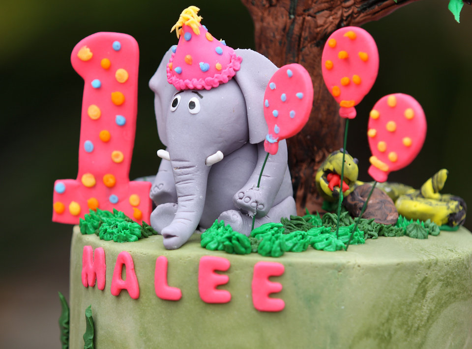 Photo - A birthday cake by Ingrid's Kitchen for Malee's first birthday celebration at the Oklahoma City Zoo, Sunday, April 15, 2012.  Photo by Garett Fisbeck, For The Oklahoman