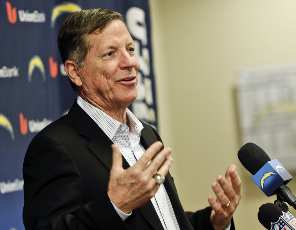 Photo - Norv Turner speaks during an NFL football news conference, Monday, Dec. 31, 2012, in San Diego. Turner was fired as head coach by the Chargers Monday, along with general manager A.J. Smith, after missing the playoffs for the third straight season. (AP Photo/Lenny Ignelzi)