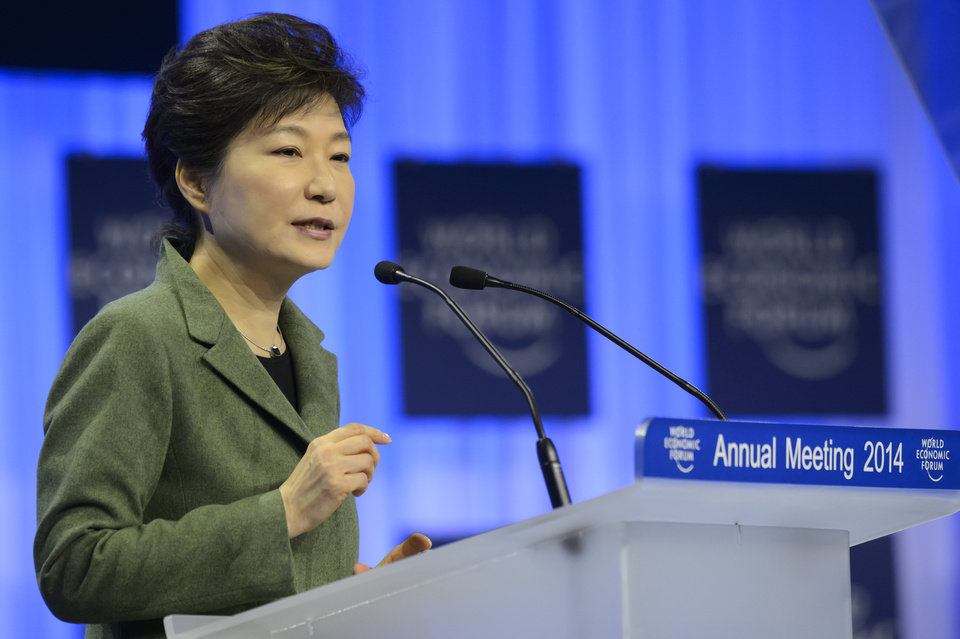 Photo - South Korean President Park Geun-hye speaks during a panel session on the first day of the 44.  Annual Meeting of the World Economic Forum, WEF, in Davos, Switzerland, Wednesday, Jan.  22, 2014. (AP Photo/Keystone,Laurent Gillieron)