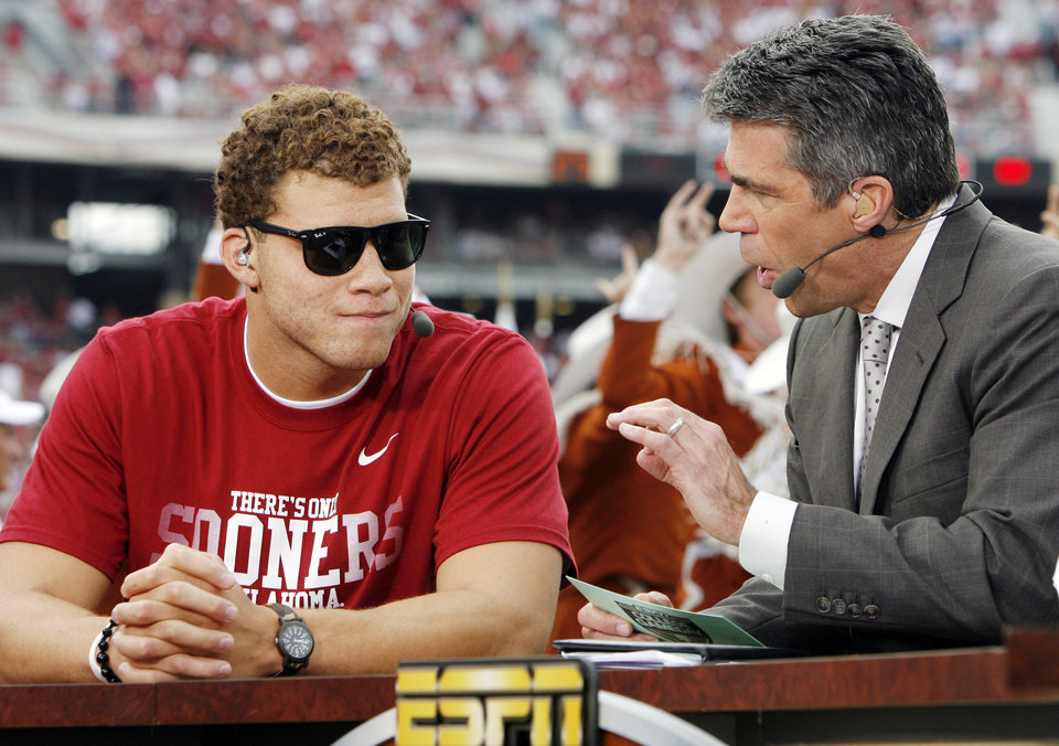 Former OU basketball player Blake Griffin, left, speaks with Chris Fowler during a segment on ESPN's College Gameday before the Red River Rivalry college football game between the University of Oklahoma Sooners (OU) and the University of Texas Longhorns (UT) at the Cotton Bowl in Dallas, Saturday, Oct. 8, 2011. Photo by Nate Billings, The Oklahoman