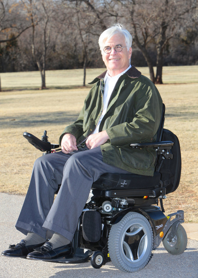 Photo - Jack McMahan visits Bluff Creek Park on Tuesday. McMahan is behind the idea of making Martin Nature Park in northwest Oklahoma City accessible to those with disabilities. McMahan was injured in a bicycle accident. Photo By David McDaniel, The Oklahoman