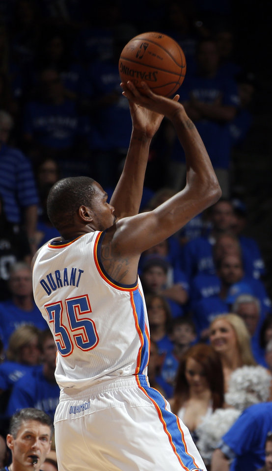Photo - Oklahoma City's Kevin Durant (35) shoots during Game 3 of the Western Conference Finals in the NBA playoffs between the Oklahoma City Thunder and the San Antonio Spurs at Chesapeake Energy Arena in Oklahoma City, Sunday, May 25, 2014. Photo by Bryan Terry, The Oklahoman