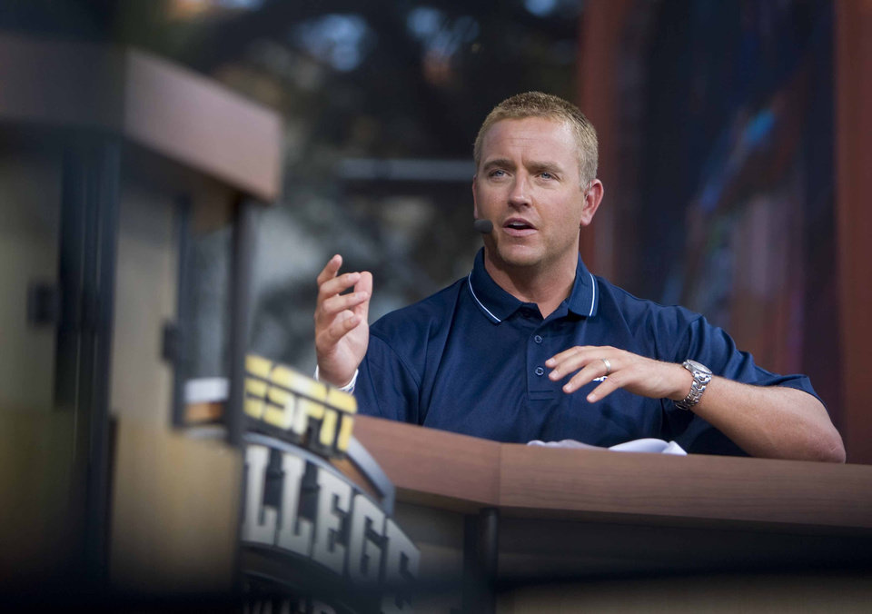Photo - ESPN's Kirk Herbstreit films a segement for the College GameDay on the University of Texas campus at Austin, Friday, Aug. 26, 2011, in Austin, Texas. ESPN and Texas announced a $300-million, 20-year deal in January to create and launch the Longhorn Network, a 24-hour channel dedicated to Longhorns sports. The network will broadcast the Texas football season-opener Sept. 3 against Rice. (AP Photo/Austin American-Statesman, Ricardo B. Brazziell) ORG XMIT: TXAUS207