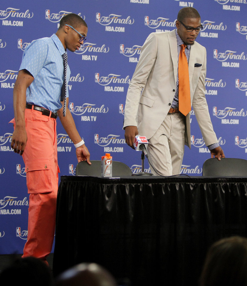 Photo - Oklahoma City's Russell Westbrook, and Kevin Durant take their seats for a press conference after Game 2 of the NBA Finals between the Oklahoma City Thunder and the Miami Heat at Chesapeake Energy Arena in Oklahoma City, Thursday, June 14, 2012. Photo by Bryan Terry, The Oklahoman