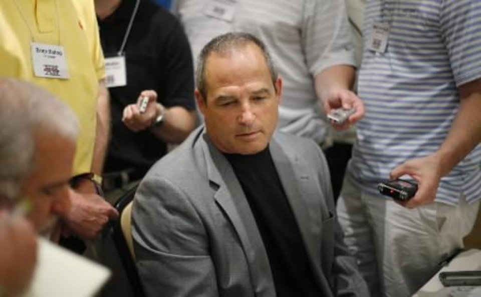 Photo - University of Missouri coach  Gary  Pinkel speaks with the media during the Big 12 Conference Football Media Days in Irving, Texas, Tuesday, July 28, 2009. Photo by Bryan Terry