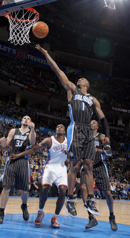 Orlando Magic's Von Wafer (1) shoots a lay up during the opening day NBA basketball game between the Oklahoma CIty Thunder and the Orlando Magic at Chesapeake Energy Arena in Oklahoma City, Sunday, Dec. 25, 2011. Photo by Sarah Phipps, The Oklahoman