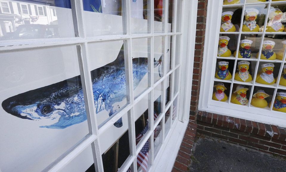 Photo - In this July 2, 2014 photo, a painting of a shark is on display in a shop window in Chatham, Mass. With growing sightings of great white sharks off Cape Cod, local entrepreneurs are feeding the frenzy with their shark-themed memorabilia and apparel. (AP Photo/Steven Senne)