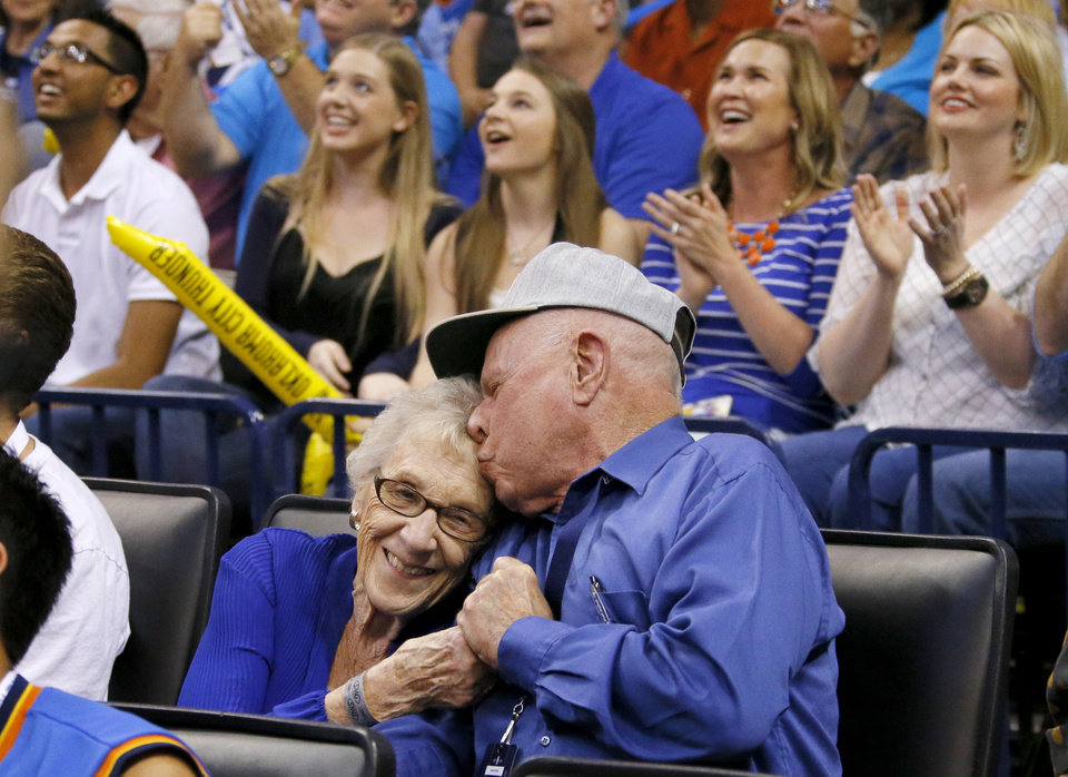 Dale and Lois Higgins appear on the Kiss Cam during a timeout in the April 11 game between the Oklahoma City Thunder and the New Orleans Pelicans at Chesapeake Energy Arena. Oklahoma City won 116-94. Photo by Bryan Terry, The Oklahoman  <strong>BRYAN TERRY -   </strong>
