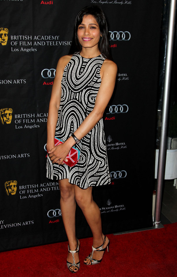 Actress Freida Pinto arrives at the BAFTA Awards Season Tea Party at The Four Seasons Hotel on Saturday, Jan. 12, 2013, in Los Angeles. (Photo by Matt Sayles/Invision/AP)