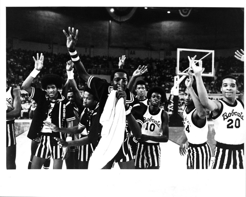 Star Spencer players celebrate winning the Class 3A title on March 11, 1979. It was the team�s fourth straight championship.  PHOTO BY STEVE GOOCH, THE OKLAHOMAN ARCHIVE