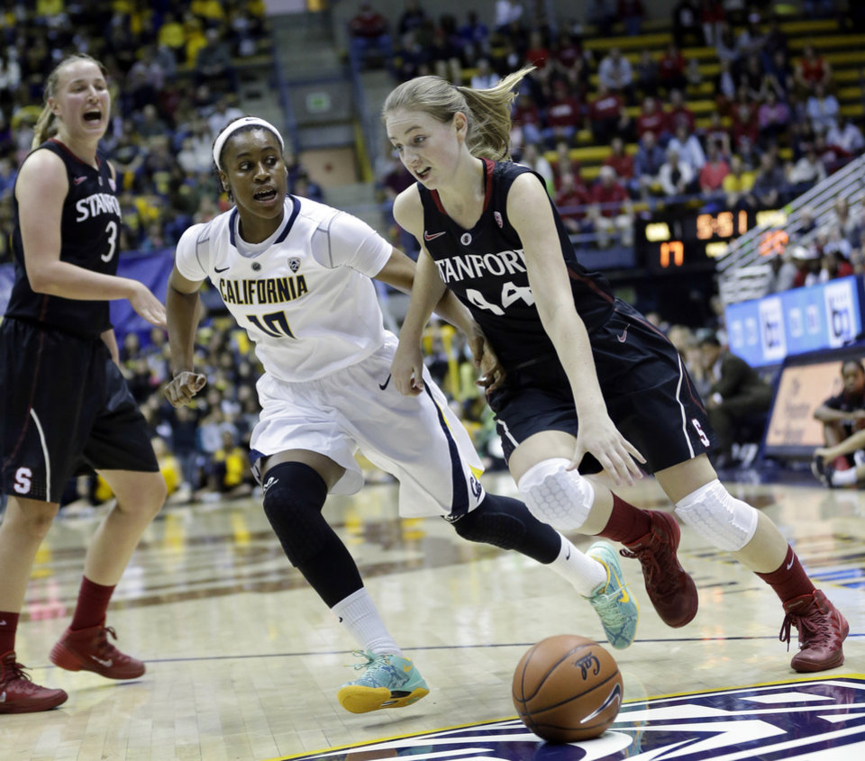 Photo - Stanford guard Karlie Samuelson (44) dribbles past California guard Mercedes Jefflo (10) during the first half on an NCAA college basketball game, Sunday, Feb. 2, 2014, in Berkeley, Calif. (AP Photo/Marcio Jose Sanchez)