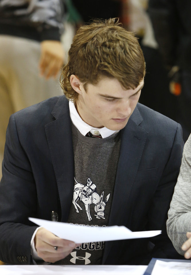 Photo - Casady High School football athlete Colin Morris during signing day ceremonies at Casady High School in Oklahoma City Wednesday, Feb. 4, 2015. Photo by Paul B. Southerland, The Oklahoman