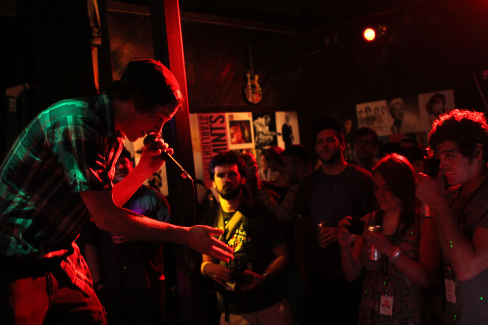 Oklahoma City-based rapper Josh Sallee performing during the SXSW CNG Now showcase on Tuesday night.